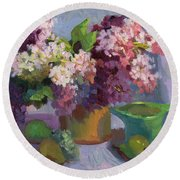 Lilacs And Pears Round Beach Towel