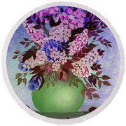 Lilacs And Queen Anne's Lace In Pink And Purple Round Beach Towel