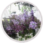 Lilacs Hanging Basket Window Reflection - Dreamy Lilacs Floral Art Round Beach Towel