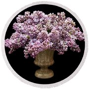 Lilacs In A Green Vase - Flowers - Spring Bouquet Round Beach Towel