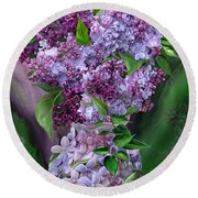 Lilacs In Lilac Vase Round Beach Towel