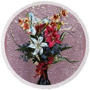 Lilies And Orchids Digitized Purple Round Beach Towel