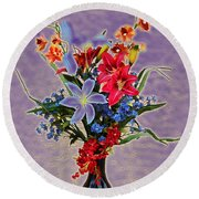 Lilies And Orchids Topaz II Round Beach Towel