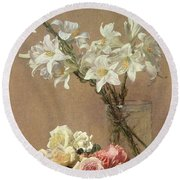 Lilies In A Vase Round Beach Towel
