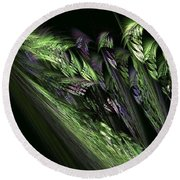 Lilies Of The Fractal Valley Round Beach Towel