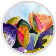 Lilies Of The Water Round Beach Towel