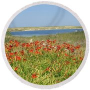 Lillies By The Lake Round Beach Towel