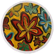 Lillies In Space Round Beach Towel