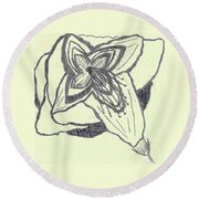 Lilly Artistic Doodling Drawing Round Beach Towel