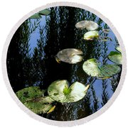 Lilly Pad Reflection Round Beach Towel