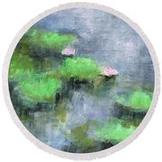 Water Lilly's  Round Beach Towel