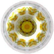 Lily And Daffodil Kaleidoscope Under Glass Round Beach Towel