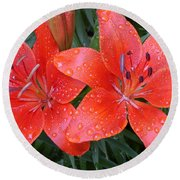 Lily Duet After The Rain Round Beach Towel