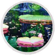 Lily Leaves Painterly  Round Beach Towel