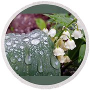Lily Of The Valley After The Rain Round Beach Towel