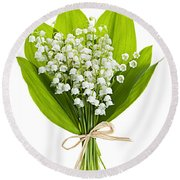 Lily-of-the-valley Bouquet Round Beach Towel