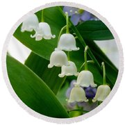 Lily Of The Valley Green Round Beach Towel