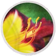 Lily On Vintage Round Beach Towel