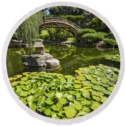 Lily Pad Garden - Japanese Garden At The Huntington Library. Round Beach Towel