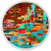 Lily Pads And Koi Colorful Water Garden In Bloom Waterlilies At The Lake Quebec Art Carole Spandau  Round Beach Towel