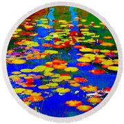 Lily Pads And Koi  Pond Waterlilies Summer Gardens Beautiful Blue Waters Quebec Art Carole Spandau  Round Beach Towel