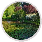 Lily Pond And Colorful Gardens Round Beach Towel
