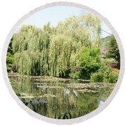 Lily Pond In Monets Garden Round Beach Towel