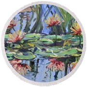 Lily Pond Reflections Round Beach Towel