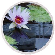 Lily Purple And White Round Beach Towel