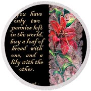 Lily Quote Round Beach Towel