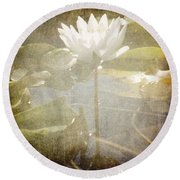 Lily Reflections Round Beach Towel
