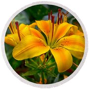 Lily Sunshine Round Beach Towel
