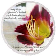Lily With Scripture Round Beach Towel