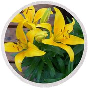 Lily Yellow Flower Round Beach Towel