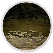 Lilypads At The Dock Round Beach Towel