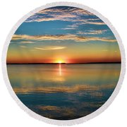 Lima Ohio Sunset Round Beach Towel