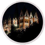 Limburg Cathedral At Night Round Beach Towel