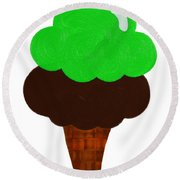 Lime And Chocolate Ice Cream Round Beach Towel
