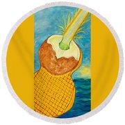 Lime Coconut Pineapple Guitar Round Beach Towel