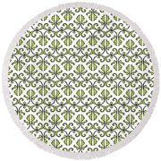 Lime Green And White Vines Round Beach Towel