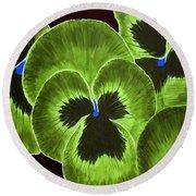 Lime Green Pansies Round Beach Towel