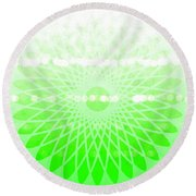 Lime Green Spirograph Round Beach Towel