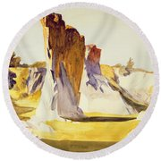 Lime Rock Quarry II Round Beach Towel by Edward Hopper