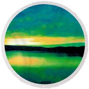 Lime Sunset Round Beach Towel
