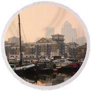 Limehouse Basin In London. Round Beach Towel