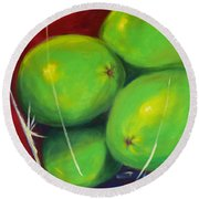 Limes In A Vase Round Beach Towel