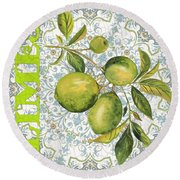 Limes On Damask Round Beach Towel