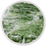 Limestone Detail Minerva Springs Yellowstone National Park Round Beach Towel