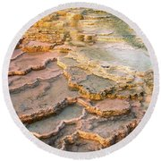 Limestone Terraces Yellowstone National Park Round Beach Towel