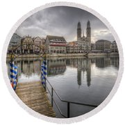 Limmat River Reflections Round Beach Towel
